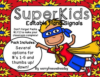Editable Hand Signals (Super Kids)