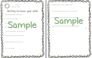 Editable Handout - Getting to know your child