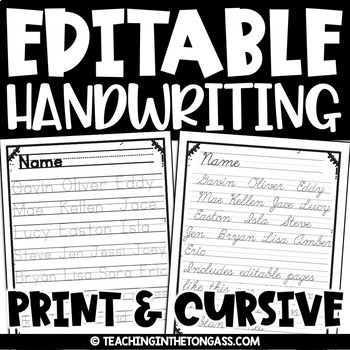 Editable Handwriting Practice | Name Writing Practice Editable Name Activities