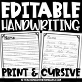Handwriting Practice Sheets | Name Practice Editable