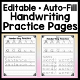 Editable Handwriting Practice {Words and Sentences} {Editable Handwriting Paper}