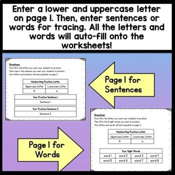 Editable Handwriting Practice {Words and Sentences} {Editable Handwriting Paper}