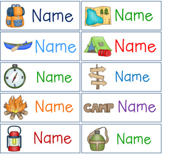 Editable Hanging Mailbox Pocket Chart Camping Themed Labels