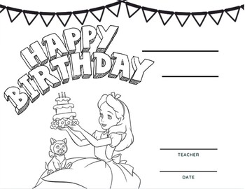 Happy Birthday Coloring Page with Balloons and Stars | Coloring ... | 270x350