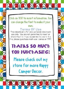 Editable Happy Camper Schedule Cards