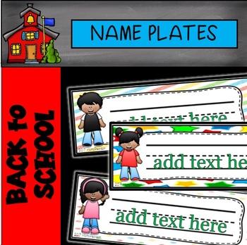 Editable Happy Kids Name Plates