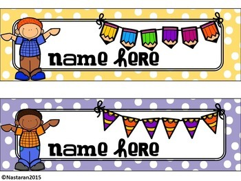 Editable Name Tags-Editable Happy Kids and Polka Dots Name Tags