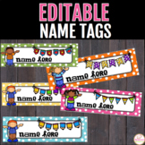 Name Tags For Desks Editable -Name Plates - Polka dot