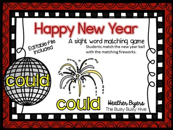 Editable Happy New Year- Sight word game