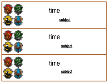 Editable Harry Potter Schedule Cards