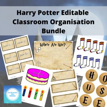 Editable Harry Potter inspired classroom organisation and decor