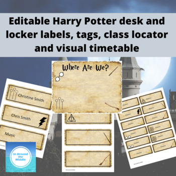 Editable Harry Potter locker labels, tags, visual timetable and class locator!
