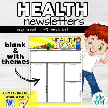 editable health newsletter templates by julia erin tpt