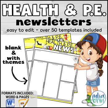Editable Health and P E  Newsletters