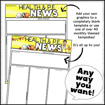 Editable Health and P.E. Newsletters