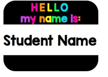 Editable Hello My Name is Name Tags