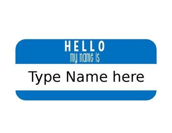 Editable Hello Name Plates