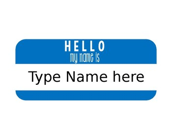 Editable Hello Name Plates