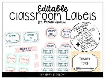 Editable Herringbone Arrow Classroom Labels (Includes Scrapbook Case Sizes!)