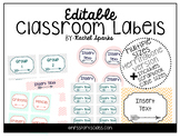 Editable Herringbone Arrow Classroom Labels (Includes Scra