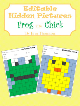 Editable Hidden Pictures ~ Frog and Chick