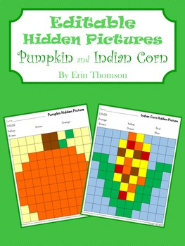 Editable Hidden Pictures ~ Pumpkin and Indian Corn