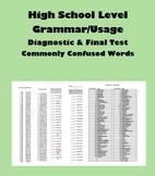 Editable High School Grammar/Usage Diagnostic & Test