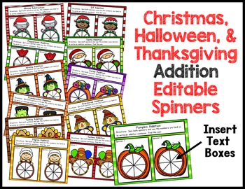 Addition and Subtraction Holiday Spinners {Editable}