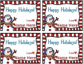 Editable Holiday Book Plates