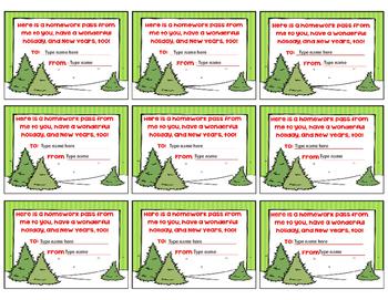 Editable Holiday Homework Passes