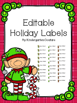 Editable Holiday Labels -Christmas