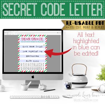 Editable Holiday Secret Code Message Worksheet, DIY Winter Activity Puzzle Sheet