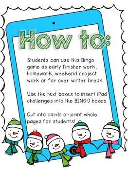 Editable Holiday iPad BINGO