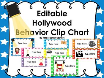 Editable Hollywood Behavior Clip Chart