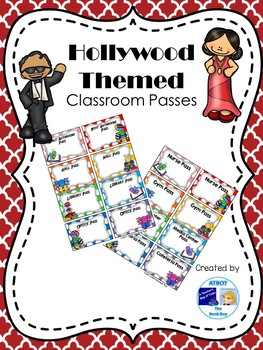 Editable Hollywood Themed Classroom Passes