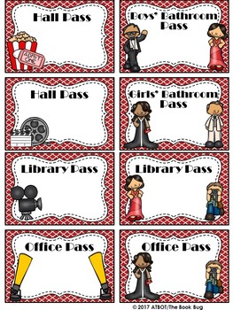 Editable Hollywood Themed Classroom Passes
