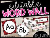 Editable Hollywood Word Wall Headers and Word Cards - Hollywood Classroom theme