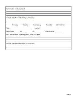 Editable Home Reading Log