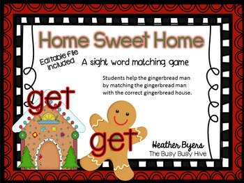 Editable Home Sweet Home- sight word game