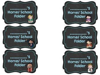 {Editable} Home/School Folder Labels