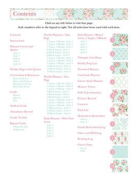 Editable Homeschool Planner – 2017-2018 Academic Year – Pink Roses