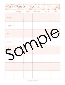 Editable Homeschool Planner – 2017-2018 Academic Year – Pink Vintage Flowers