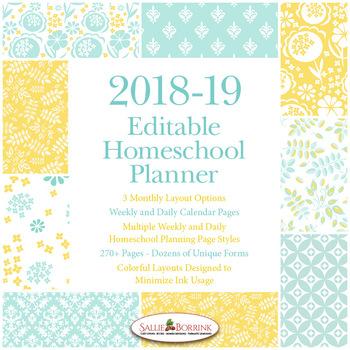 Editable Homeschool Planner – 2018-2019 Academic Year – Aqua and Yellow