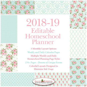 Editable Homeschool Planner – 2018-2019 Academic Year – Pink Roses
