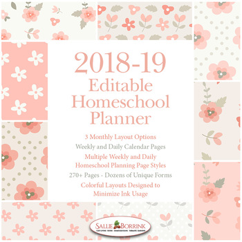 Editable Homeschool Planner – 2018-2019 Academic Year – Pink Vintage Flowers