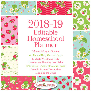 Editable Homeschool Planner – 2018-2019 Academic Year – Strawberries