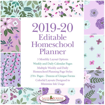 Editable Homeschool Planner – 2019-2020 Academic Year – Lavender & Teal Flowers