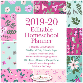 Editable Homeschool Planner – 2019-2020 Academic Year – Pink and Teal Flowers