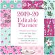 Editable Homeschool Planner 2019-2020 - Multiple Children - Pink & Teal Flowers