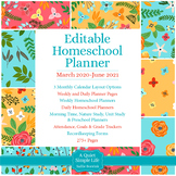 Editable Homeschool Planner – March 2020 to June 2021 – Tu
